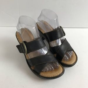 Born Salima Black Leather Heels Sandal B92903 Sz 7